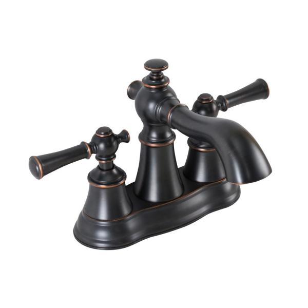 4-in Centerset 2-Handle bathroom faucet with pop-up drain in Oil-Rubbed Bronze