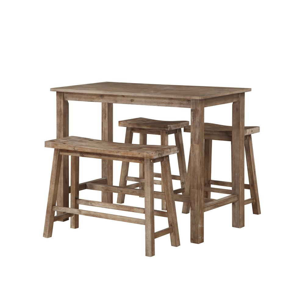 Sonoma Pub Table with 1-Bench and 2-Stools in Driftwood Gray-75027 - The Home Depot  sc 1 st  The Home Depot & Boraam 47.25 in. Sonoma Pub Table with 1-Bench and 2-Stools in ... islam-shia.org