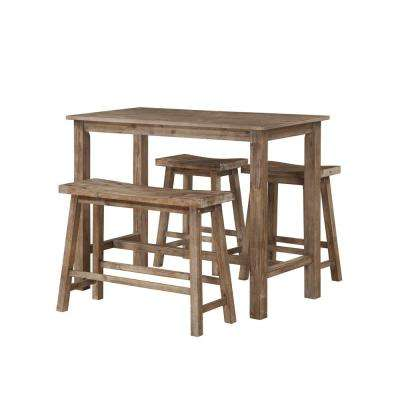 47.25 in. Sonoma Pub Table with 1-Bench and 2-Stools in Driftwood Gray