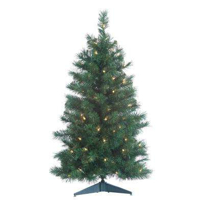 3 ft. Pre-Lit Colorado Spruce Artificial Christmas Tree with 100 Clear Lights and 21 in. Base