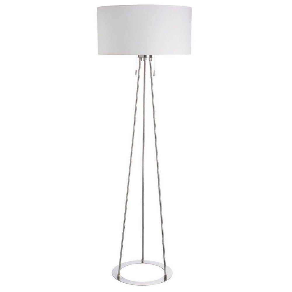 Filament Design Catherine 68 in. Incandescent Satin Chrome Floor Lamp with Linen Shades
