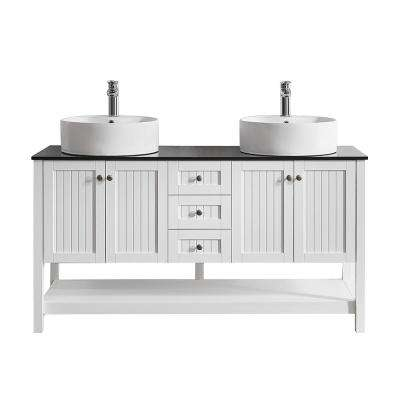 Modena 60 in. Bath Vanity in White with Tempered Glass Vanity Top in Black with Vessel Sinks in White