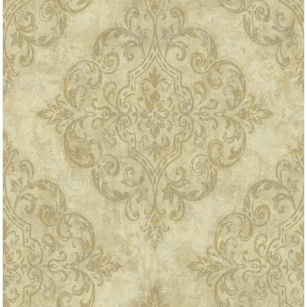 Seabrook Designs Atelier Metallic Gold And Cream Damask Wallpaper