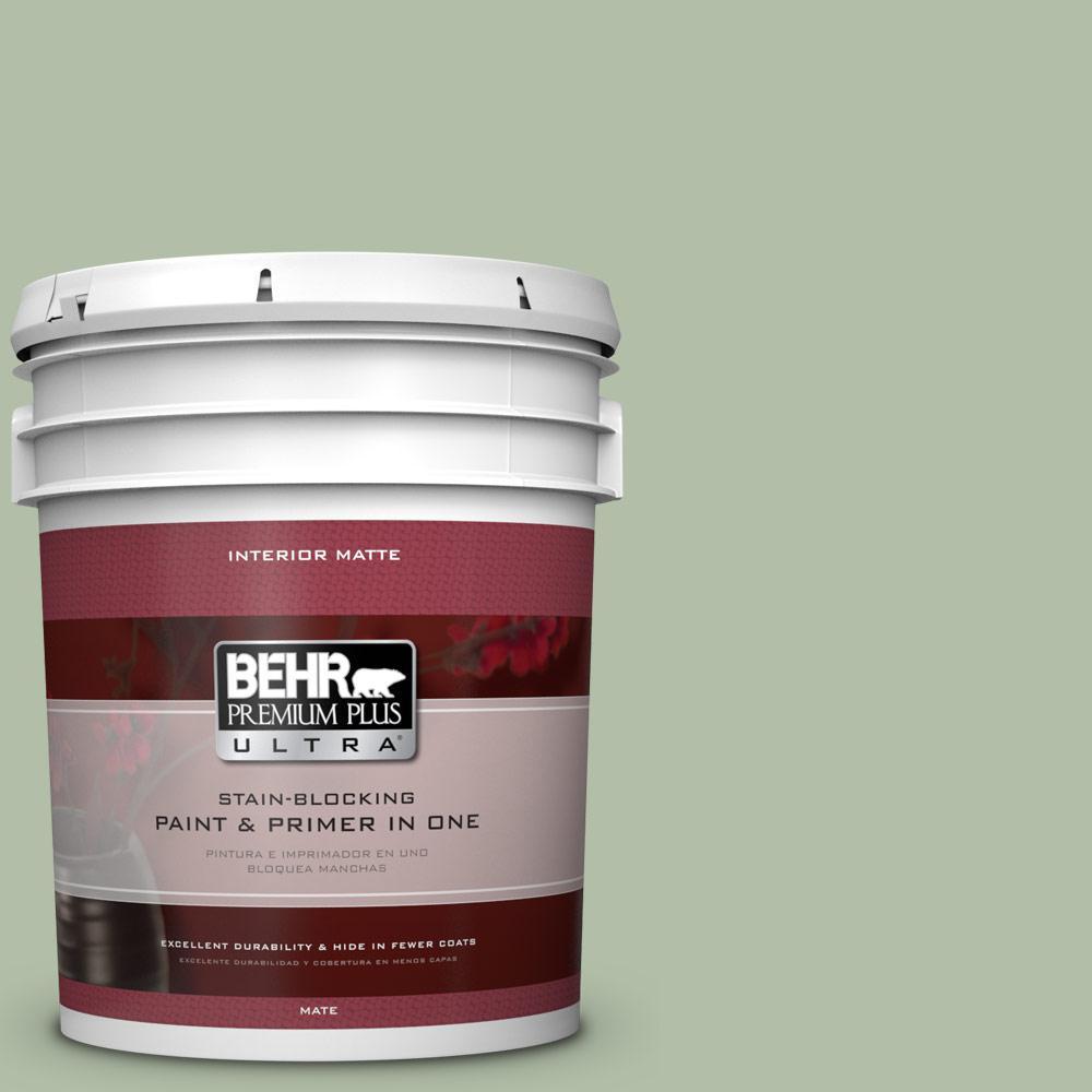 BEHR Premium Plus Ultra 5 gal. #S390-3 Creamy Spinach Matte Interior Paint
