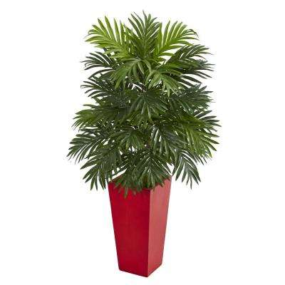 Indoor Areca Palm Artificial Plant in Red Planter