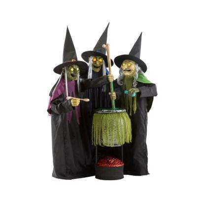 6 ft. Animated LED Wicked Cauldron Witches