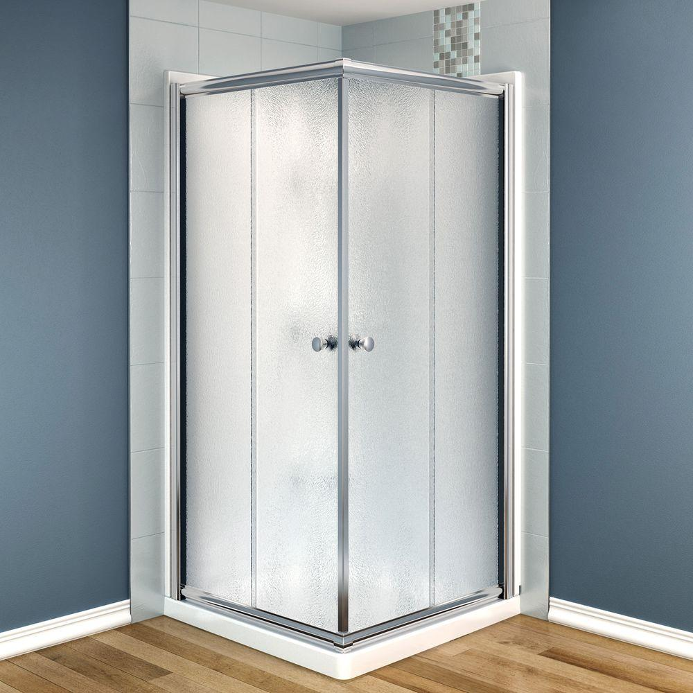 MAAX Centric 36 in. x 36 in. x 73 in. Corner Square Shower Kit in Chrome with Frosted Glass, Walls and Base in White