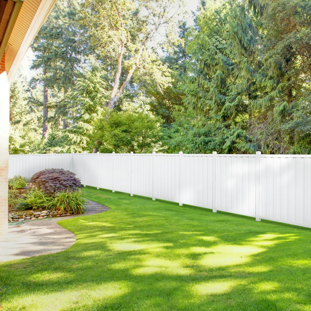 Bridgeport 6 ft. H x 6 ft. W White Vinyl Privacy Fence Panel (Includes 4 Brackets)