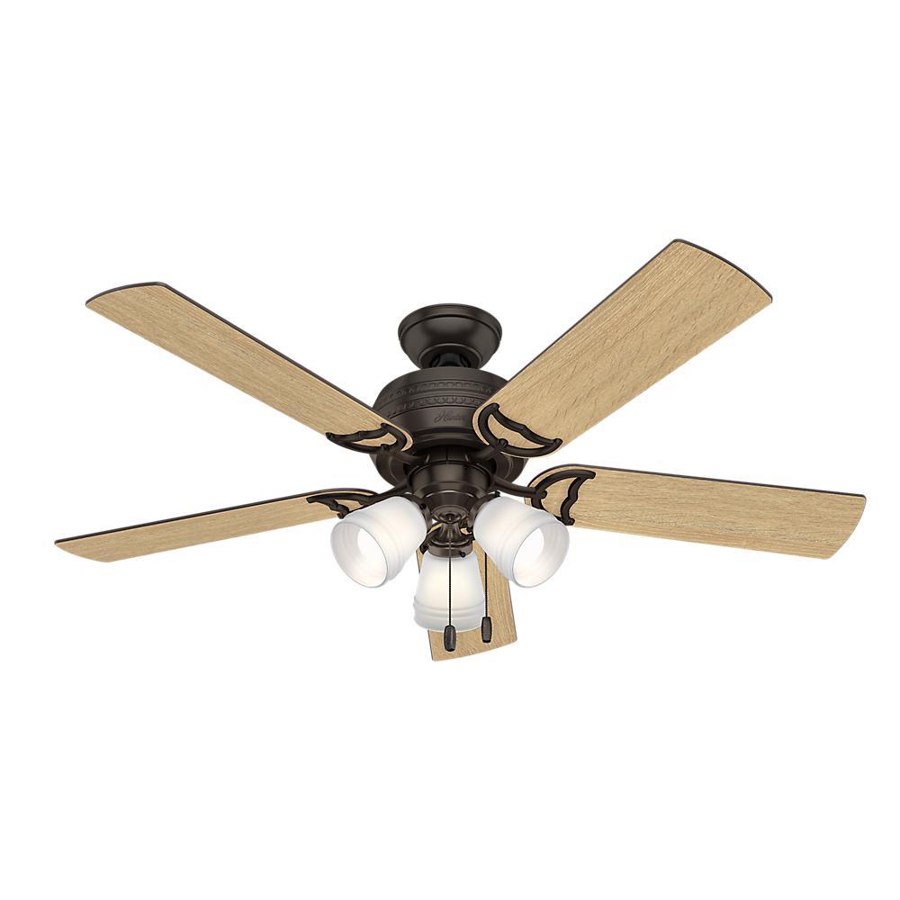 New 52 3 Light Bronze Indoor Ceiling Fan Best Price: Hunter Prim 52 In. LED Indoor 3-Light Premier Bronze
