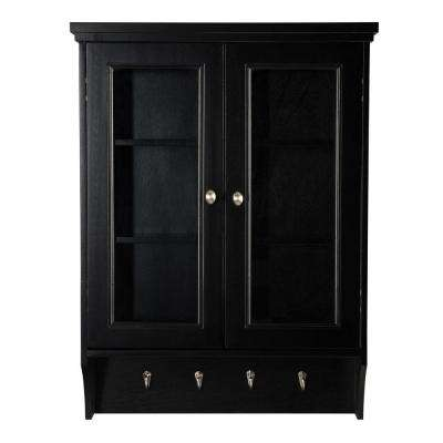 Gazette 23-1/2 in. W x 31 in. H x 7-1/2 in. D Bathroom Storage Wall Cabinet with Glass Doors in Espresso