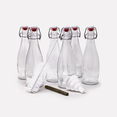 17 oz. Glass Bottles with Swing Top Stoppers, Bottle Brush, Funnel, and Gold Glass Marker (Set of 6)