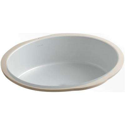Verticyl Oval Vitreous China Undermount Bathroom Sink in Ice Grey with Overflow Drain