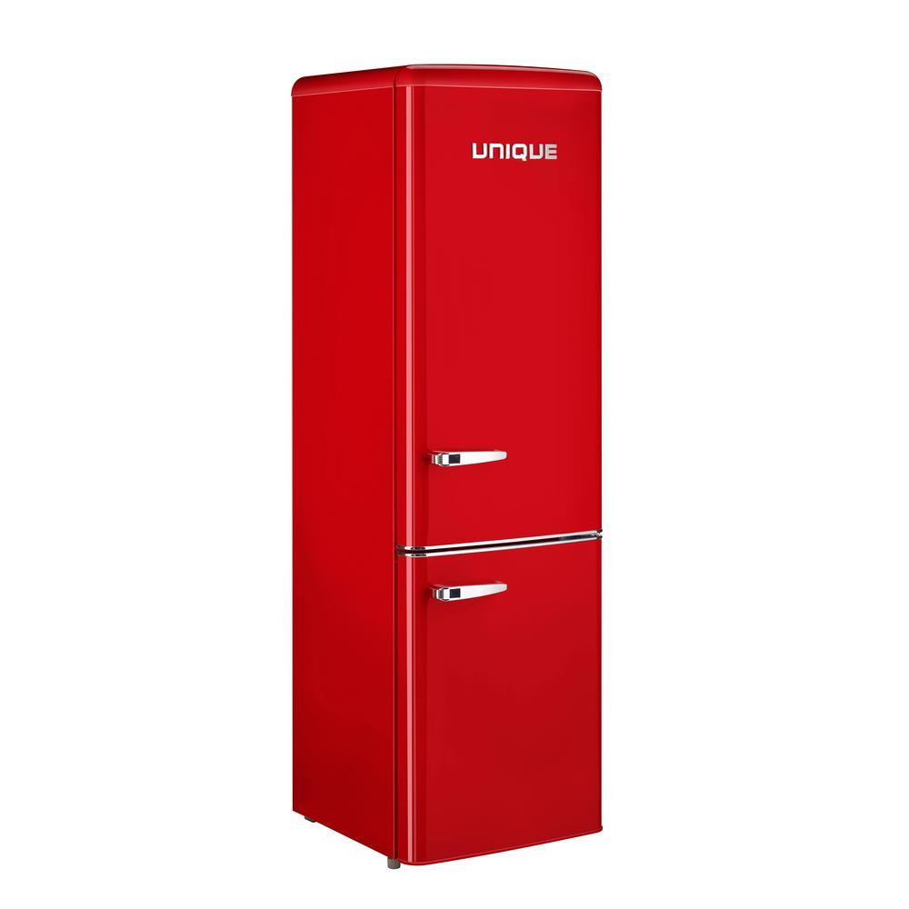 Retro 21.6 in. 9 cu. Ft. Bottom Freezer Refrigerator in Red