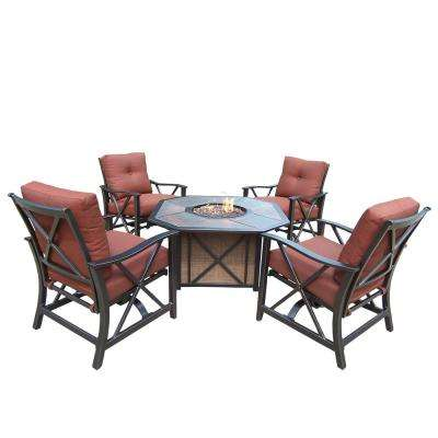 5-Piece Deep Seating Chat Set with Gas Firepit, Top, Burner System, Red Lava Rock, Cushions and 4 Rocking Chairs