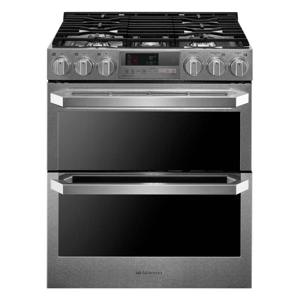 Lg Signature 7 3 Cu Ft Slide In Double Oven Smart Dual Fuel Range With Probake Convection And Wi Fi Enabled Stainless Steel