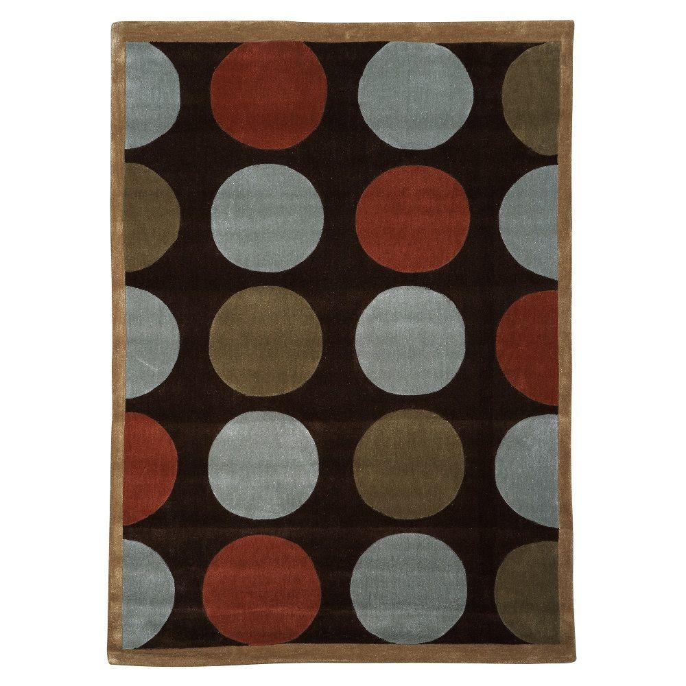 Linon Trio Collection Brown and Pale Blue 5 ft. x 7 ft. I...