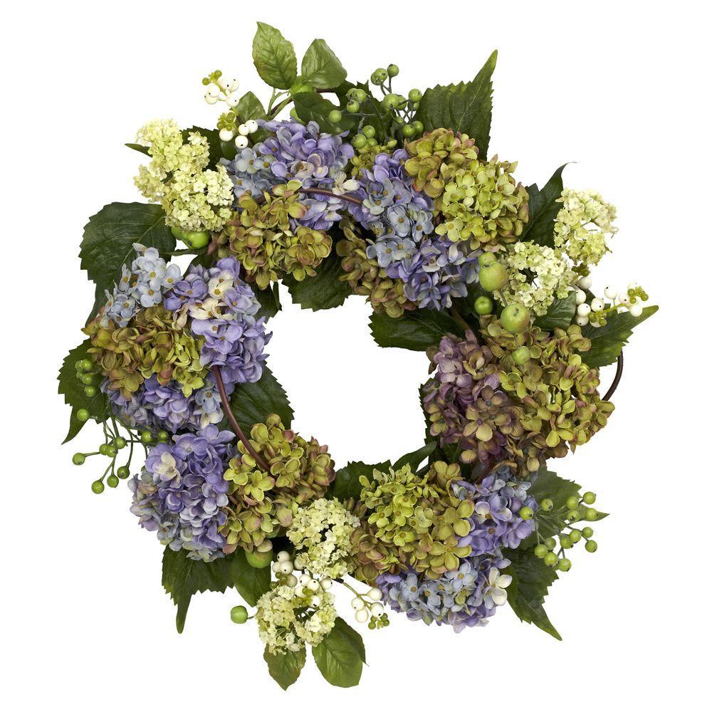 22.0 in. H Pastel Hydrangea Wreath