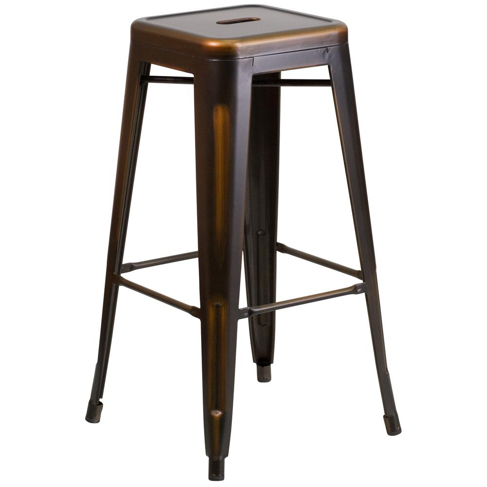 Distressed Copper Bar Stool