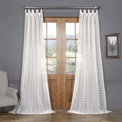 Strasbourg Dot White Patterned Linen Sheer Curtain - 50 in. W x 108 in. L