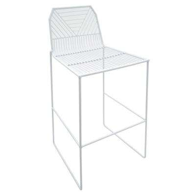 39 in. White Metal Counter Stool
