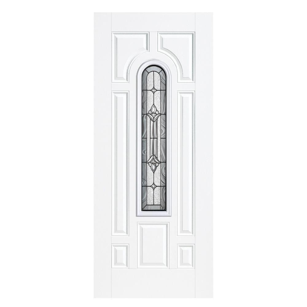 Masonite 36 in. x 80 in. Providence Center Arch Right-Hand Outswing Primed White Smooth Fiberglass Prehung Front Door