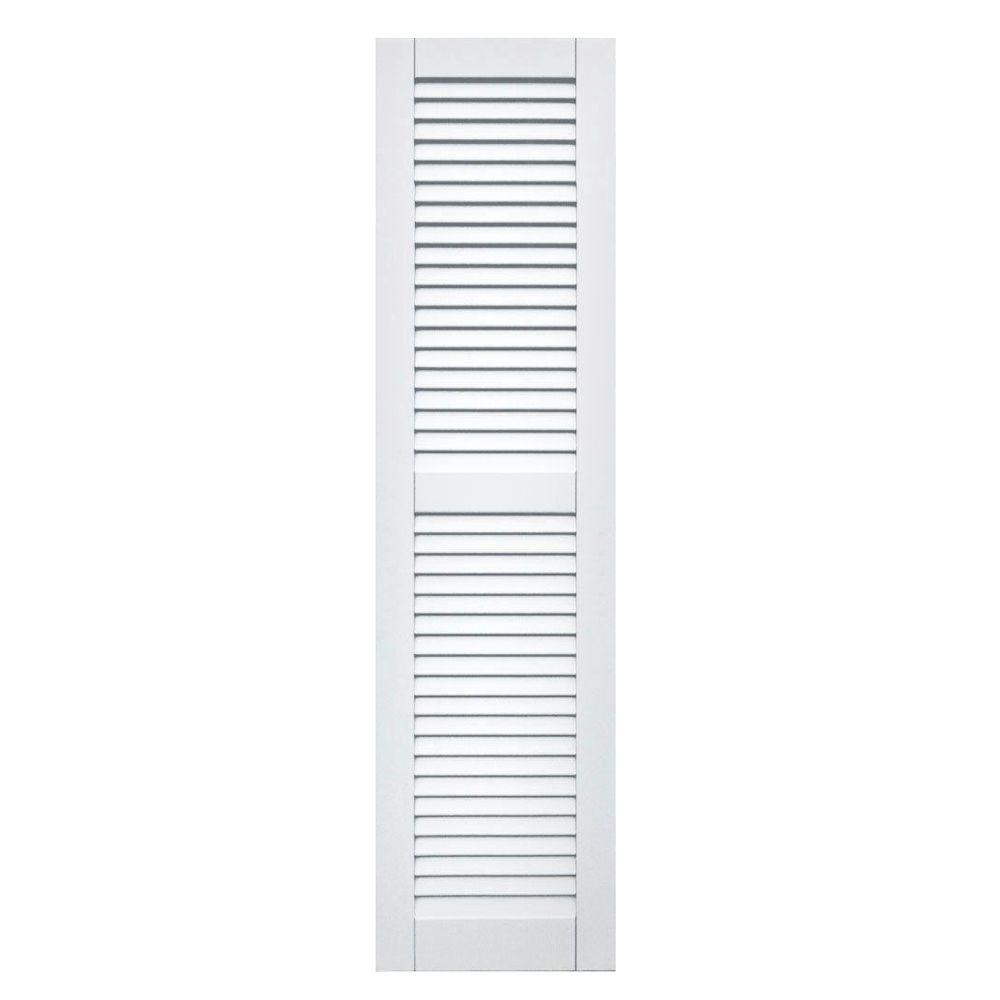 Winworks Wood Composite 15 in. x 58 in. Louvered Shutters Pair #631 White
