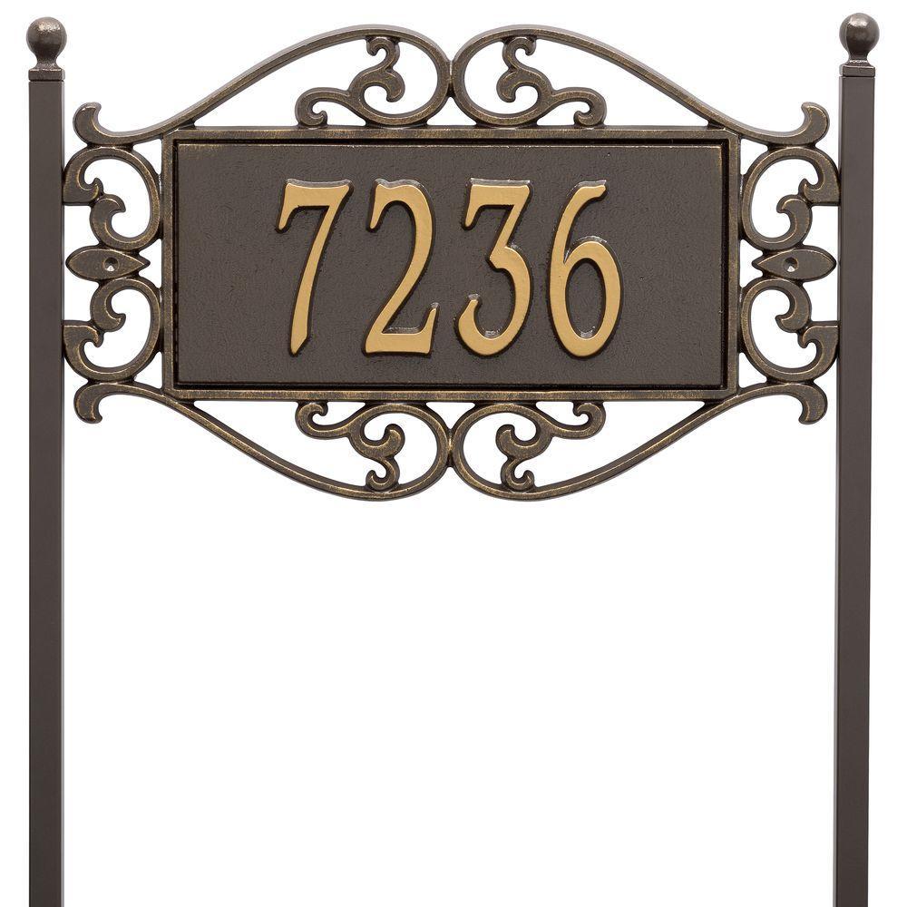 Whitehall Products Lewis Fretwork Rectangular Bronze/Gold Standard Lawn One Line Address Plaque