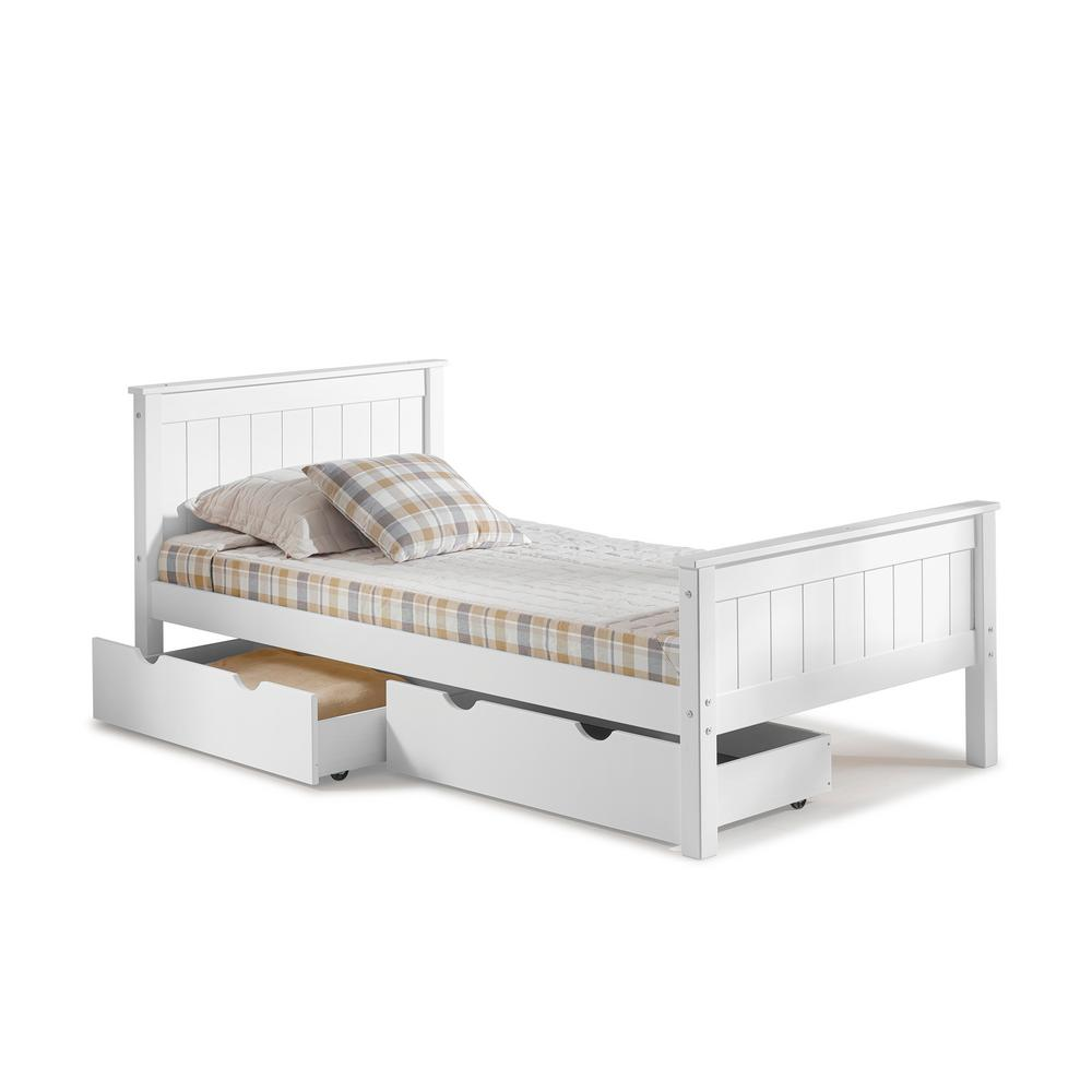 Alaterre furniture harmony white twin bed with storage drawers