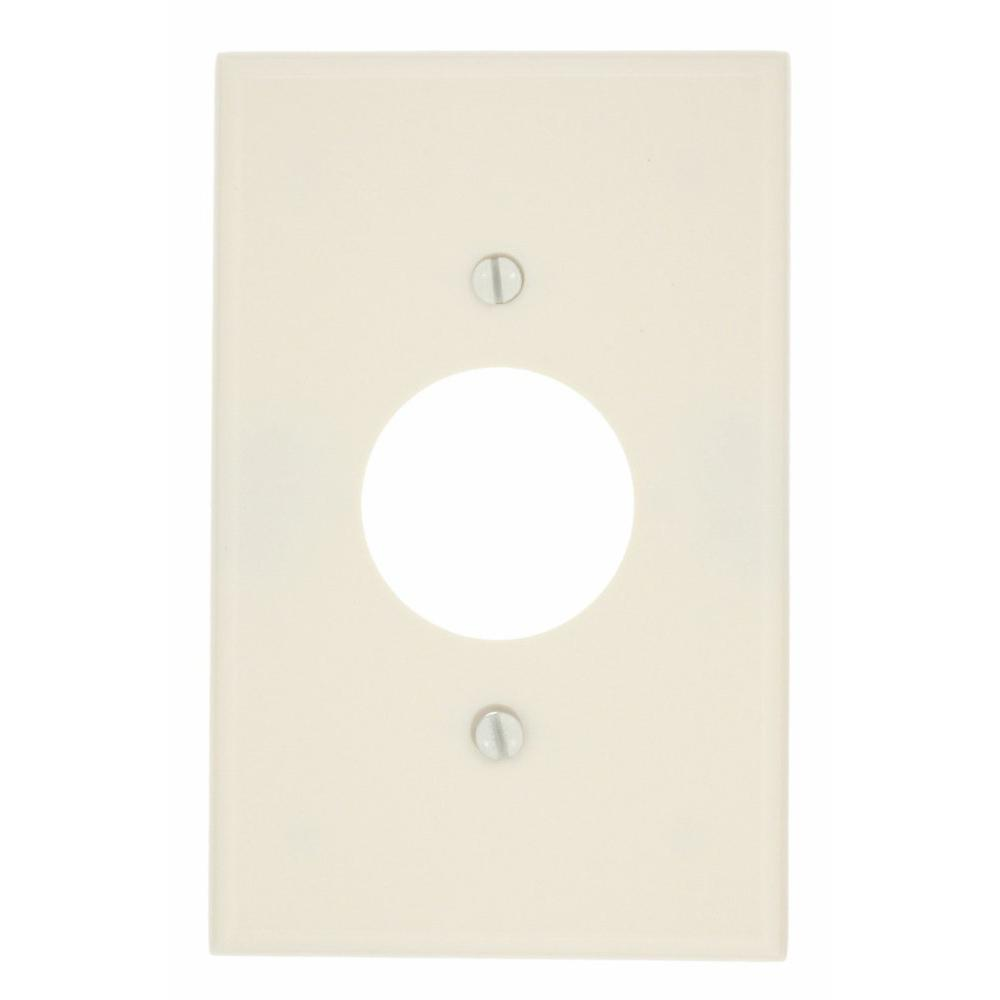 1-Gang 1 Single Receptacle, Midway Size Plastic Wall Plate - Light