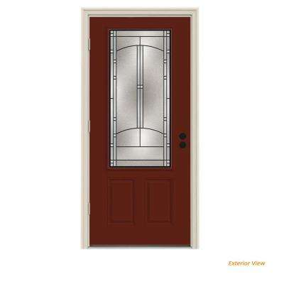 32 in. x 80 in. 3/4 Lite Idlewild Mesa Red Painted Steel Prehung Right-Hand Outswing Front Door w/Brickmould