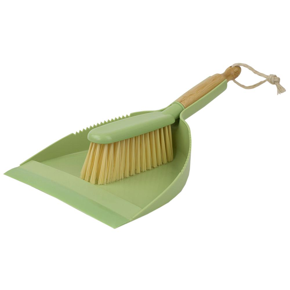 Bliss Collection 8.62 in. Green Bamboo Broom and Dust Pan Set