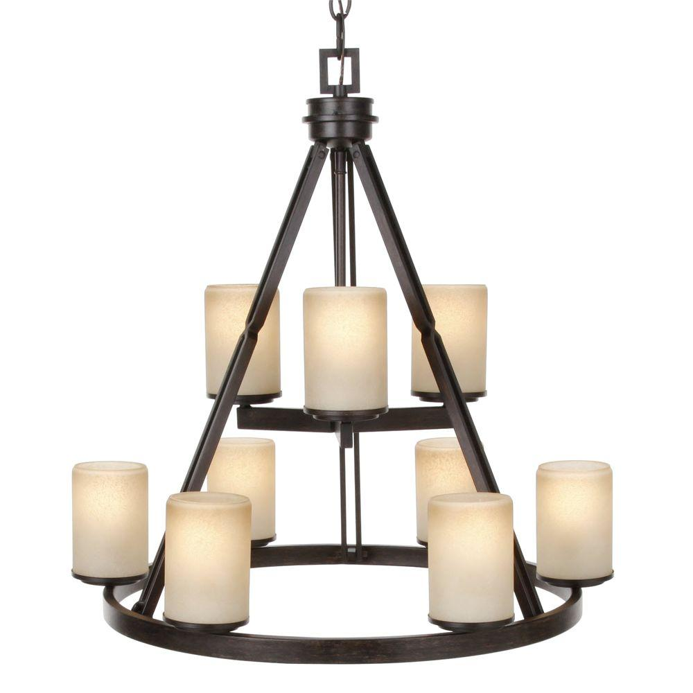 Alta Loma 9-Light Dark Ridge Bronze Chandelier with Scavo Glass Shades