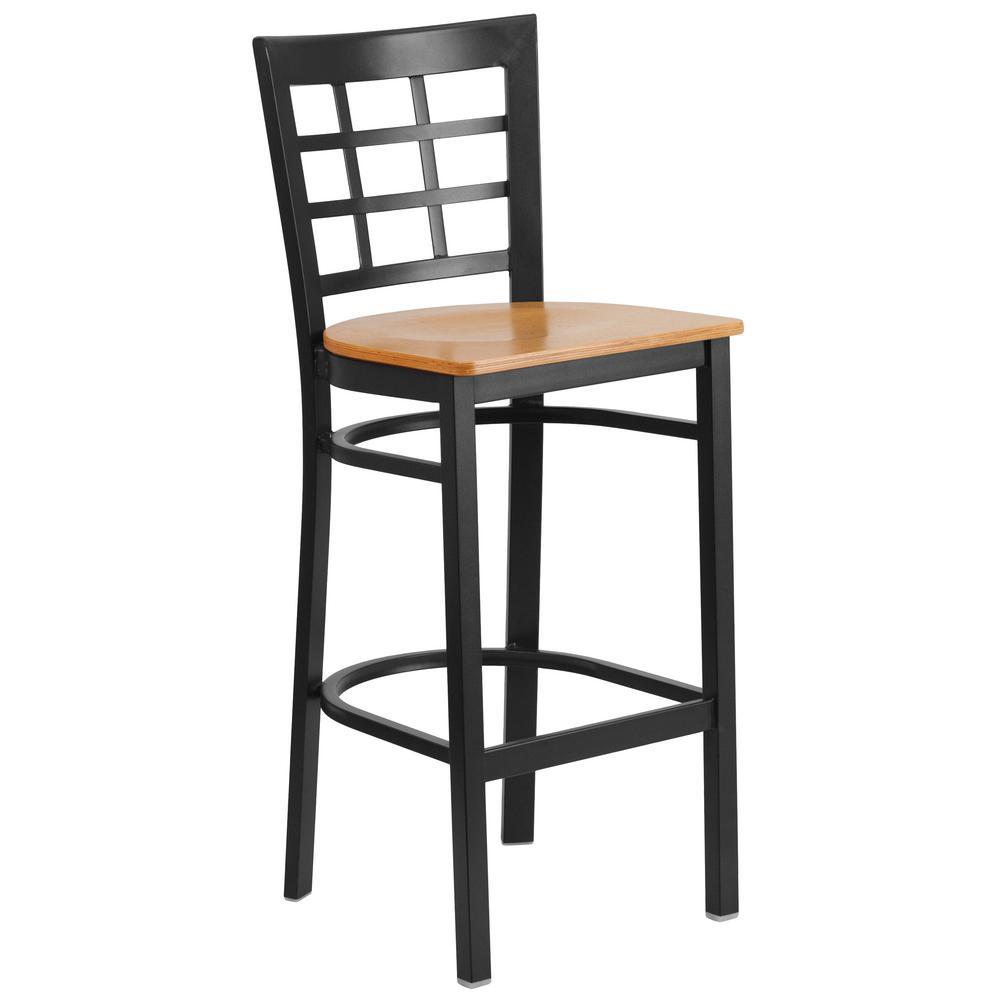 Flash Furniture 28.75 in. Black Bar Stool XU6R7BWINBARNTW