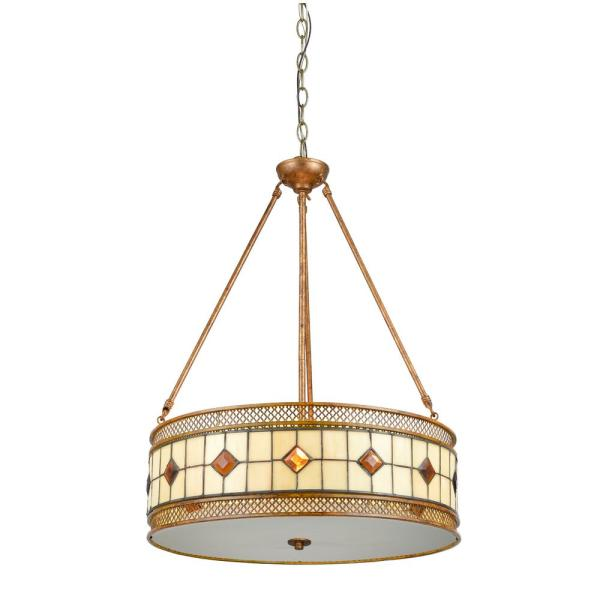 Minerals 27 in. 3-Light Rustic Bronze Pendant with Hand Rolled Art Glass and Metal Shade