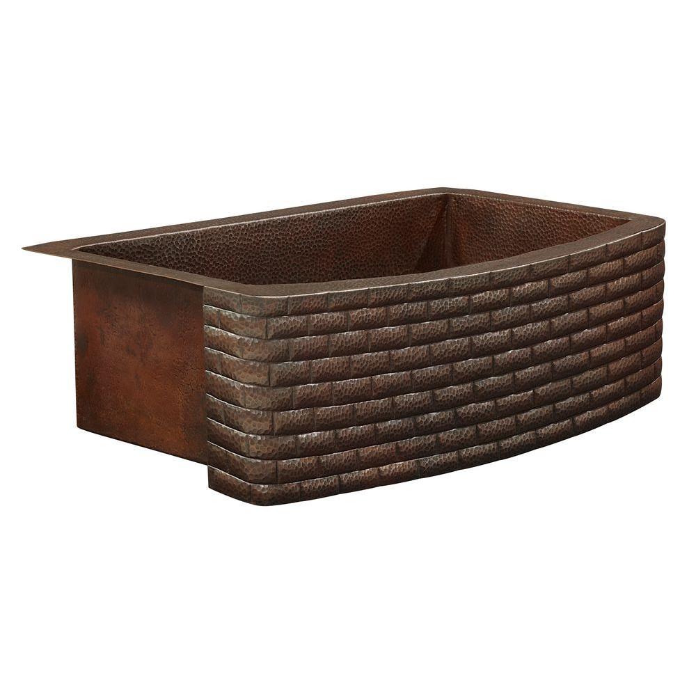 Donatello Farmhouse Apron Front 36 in. Single Bowl Copper Kitchen Sink Bow Front Brick Design