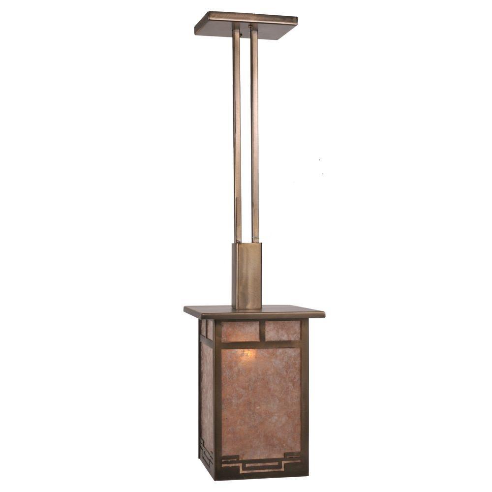 Illumine 1 Light Roylance Pendant Antique Copper Finish Mica Glass