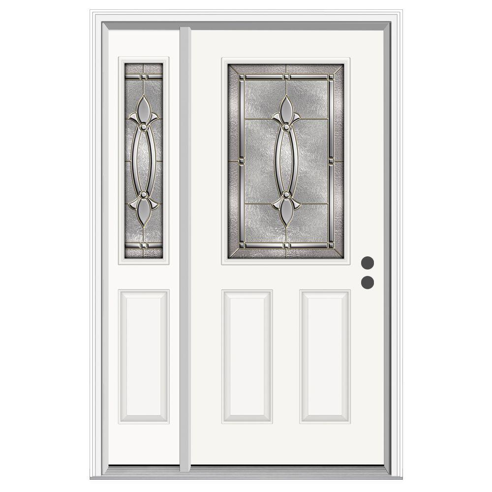JELD-WEN 52 in. x 80 in. 1/2 Lite Blakely Primed Steel Prehung Left-Hand Inswing Front Door with Left-Hand Sidelite