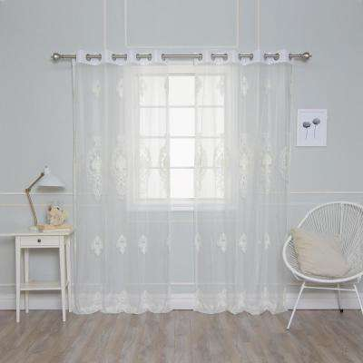 84 in. L Sheer Pearl Embellished Curtains (2-Pack)