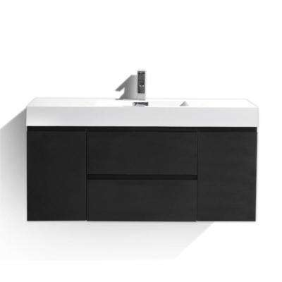 Fortune 48 in. W Bath Vanity in Rich Black with Reinforced Acrylic Vanity Top in White with White Basin