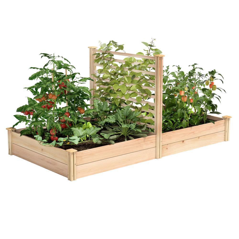 4 ft. x 8 ft. X 11 in. Premium Cedar Raised Garden Bed with Trellis
