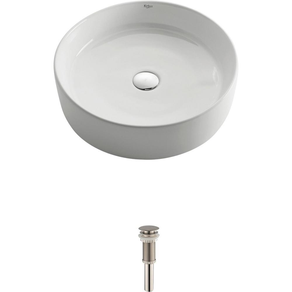 Round Ceramic Vessel Bathroom Sink in White with Pop Up Drain in Satin Nickel