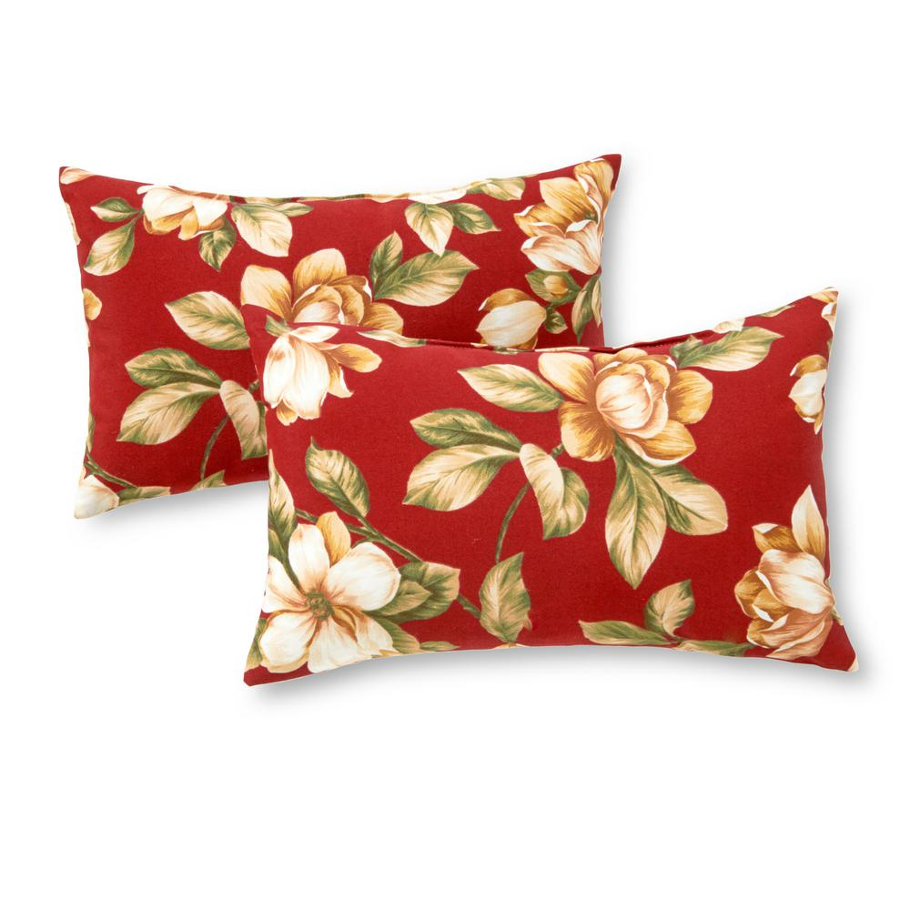 Greendale Home Fashions Roma Floral Lumbar Outdoor Throw Pillow (2-Pack)