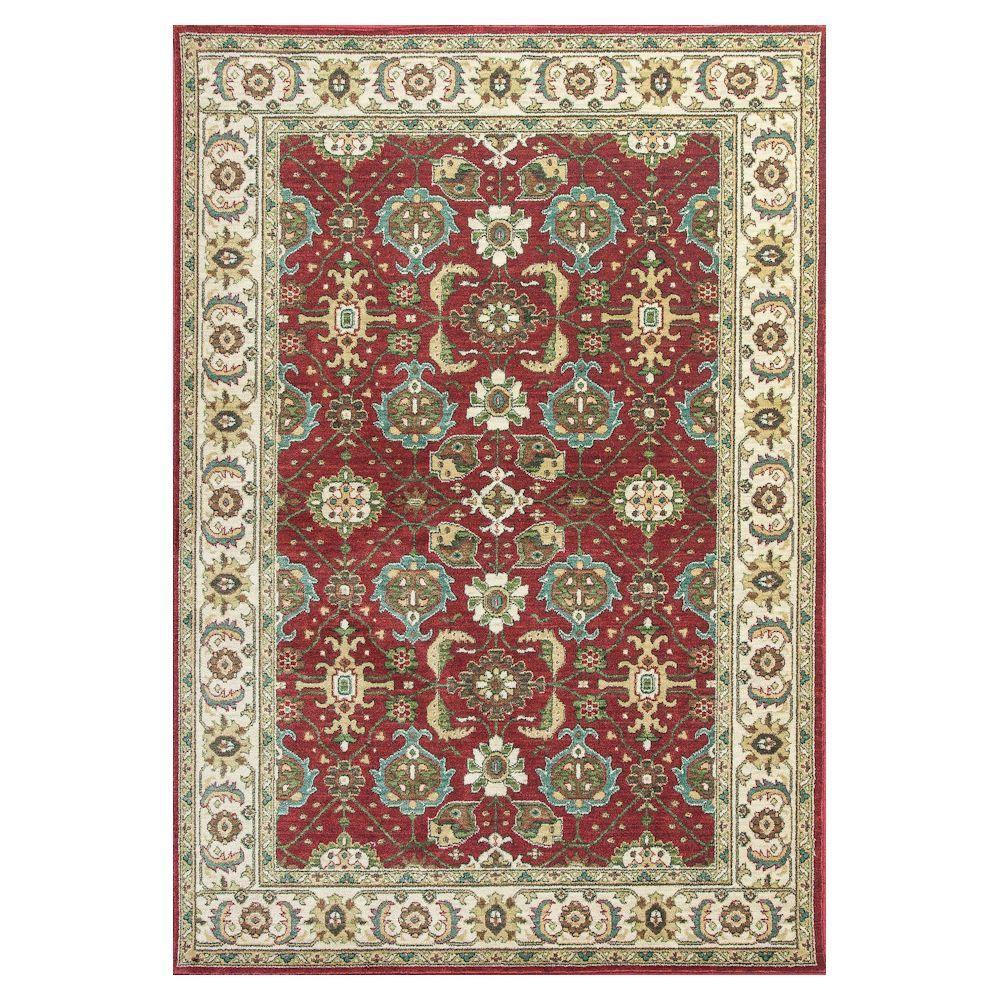Antiqued Mahal Red/Ivory 5 ft. 3 in. x 7 ft. 7