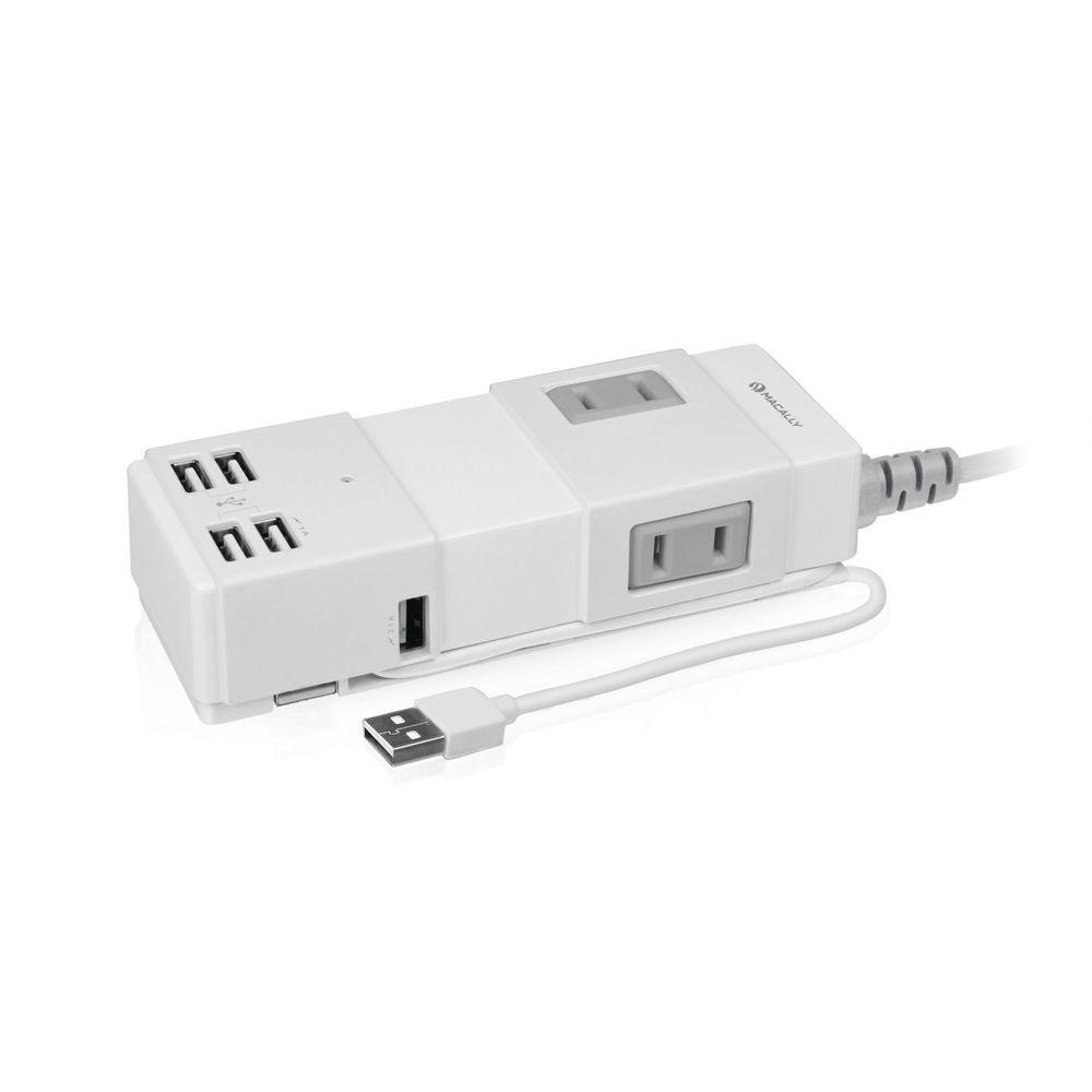 Portable Power Strip with 4-Port USB Hub and One 10-Watt USB Charge Port,  White