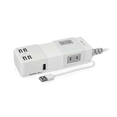 Portable Power Strip with 4-Port USB Hub and One 10-Watt USB Charge Port