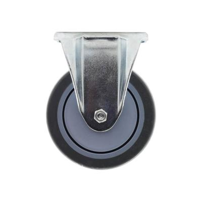 5 in. Medium Duty Gray TPR Rigid Plate Caster with 330 lbs. Weight Rating