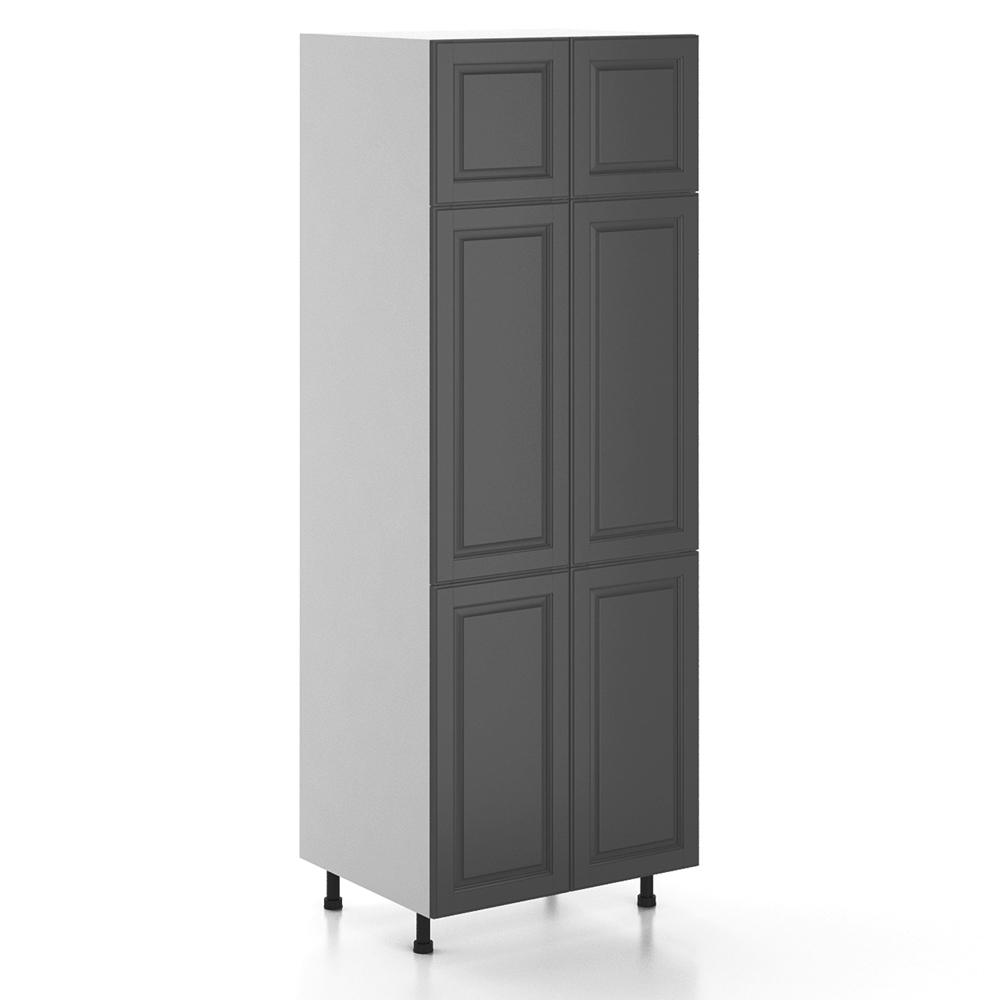 Buckingham Ready To Emble 30 X 83 5 24 In Pantry Utility Cabinet White Melamine And Door Gray
