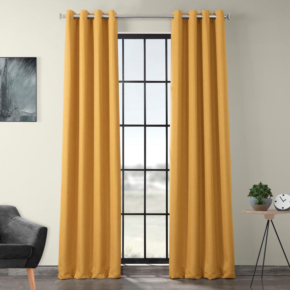 Dandelion Gold Faux Linen Grommet Blackout Curtain - 50 in. W x 84 in. L