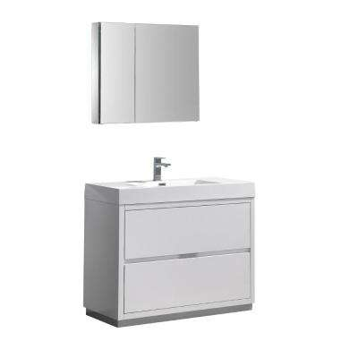 Valencia 40 in. W Vanity in White with Acrylic Vanity Top in White with White Basin and Medicine Cabinet