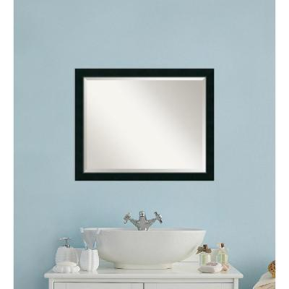 Nero Black Wood 31 in. W x 25 in. H Contemporary Bathroom Vanity Mirror